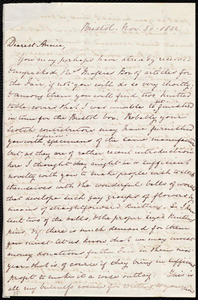 Thumbnail for Letter from Mary Anne Estlin, Bristol, [England], to Anne Warren Weston, Nov. 30, 1854