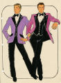 Costume design drawing, two male performers in lavender and magenta, Las Vegas, June 5, 1980