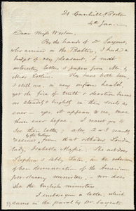 Letter from Samuel May, 21 Cornhill, Boston, [Mass.], to Miss Weston, 4th Jan. [1849?]