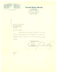 Letter from Robert J. Bulkley to W. E. B. Du Bois