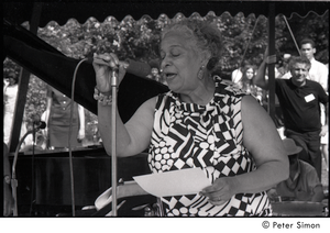 Unidentified woman introducing an act at Jackie Robinson's jazz concert