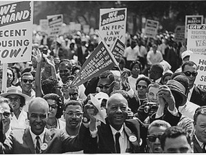 Civil Rights March on Washington, D.C. [Leaders of the march leading marchers down the street.], 08/28/1963