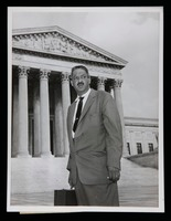 Thurgood Marshall in front of the Supreme Court building