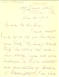 Thumbnail for Letter from Caroline H. Pemberton to W. E. B. Du Bois