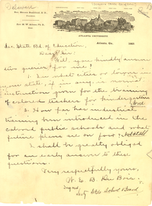 Letter from the Secretary of the Delaware State Board of Education to W. E. B. Du Bois