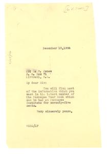Letter from W. E. B. Du Bois to L. V. Jones