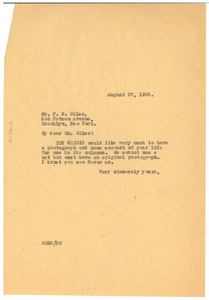 Letter from W. E. B. Du Bois to F. E. Giles
