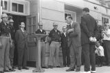 "U.S. Deputy Attorney General Nicholas Katzenbach speaking to Governor George Wallace during his ""stand in the schoolhouse door"" at the University of Alabama."