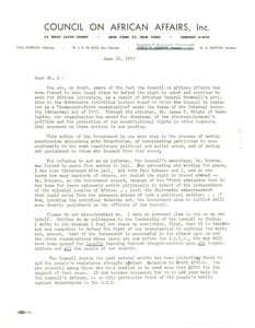 Letter from Council on African Affairs