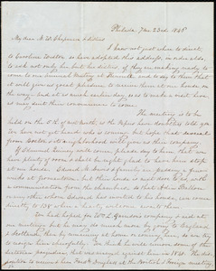 Letter from Lucretia Mott, Philad[elphi]a, [Penn.], to Maria Weston Chapman and Miss Weston, 7 mo[nth] 23rd [day] 1846