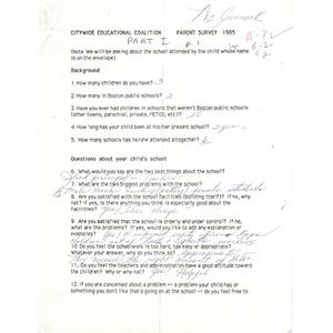 Citywide Educational Coalition parent survey 1985 - McCormack School.