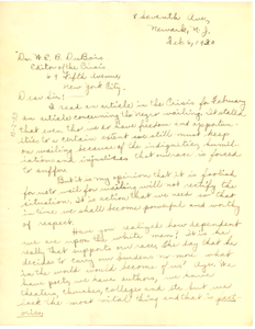 Letter from Muriel Rogers to W. E. B. Du Bois
