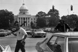 Law enforcement officers on Dexter Avenue in Montgomery, Alabama, during the takeover of radio station WAPX by Black Muslims.