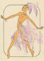Costume design drawing, topless showgirl with lavender feathers, Las Vegas, June 5, 1980