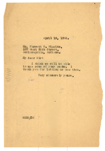 Letter from W. E. B. Du Bois to Forrest O. Wiggins