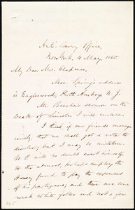 Letter from Oliver Johnson, Anti-Slavery Office, New York, to Maria Weston Chapman, 4 May 1865