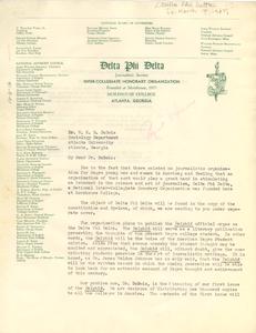 Letter from Delta Phi Delta to W. E. B. Du Bois