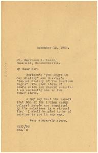 Letter from W. E. B. Du Bois to Harrison W. Keach