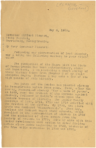 Letter from W. E. B. Du Bois to the Governor of Pennsylvania