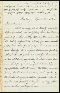 Letter from William Lloyd Garrison, Roxbury, [Mass.], to Fanny Garrison Villard, April 12, 1878