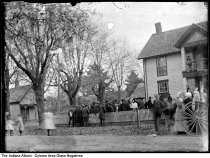 People gathered in front yard of house at 1428 Coloma Road, Coloma, Indiana, circa 1910
