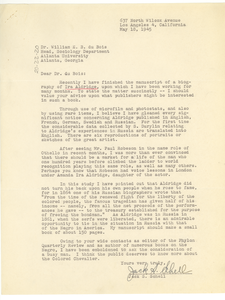 Letter from Jack S. Schell to W. E. B. Du Bois