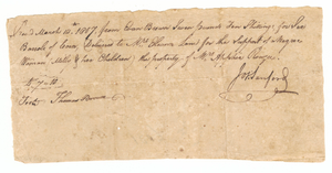 Payment receipt for loan of Milly and her children, owned by Apphia Rouzee