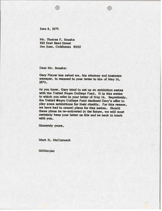 Letter from Mark H. McCoramck to Thomas F. Bouska