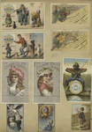 Trade cards depicting adults, children, flowers, spectacles, thread, an angel and an African American man fishing