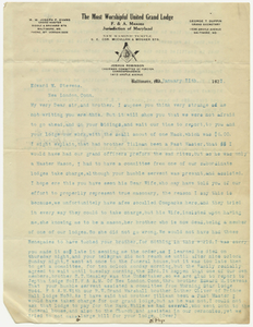 Letter from Grand Master Joseph P. Evans of Maryland, 1921 January 11