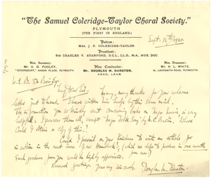Letter from The Samuel Coleridge-Taylor Choral Society to W. E. B. Du Bois