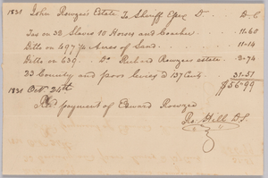 Account of taxable property, including enslaved persons, owned by John Rouzee