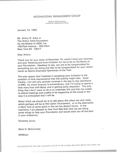 Letter from Mark H. McCormack to Arthur R. Ashe