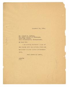 Letter from W. E. B. Du Bois to Sam H. Reading