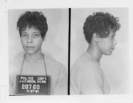 Mississippi State Sovereignty Commission photograph of Janice LaJune Jackson following her arrest for her participation in a sit-in at a library in Jackson, Mississippi, 1961 March 27