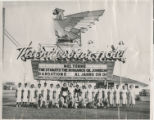 Black and white photograph of the staff (mostly housekeeping) at the Thunderbird Hotel and Casino in Las Vegas, Nevada, ca. 1950