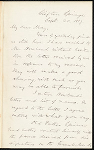 Letter from Oliver Johnson, Clifton Springs, [N.Y.], to Samuel May, Sept. 20, 1887