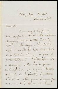 Letter from Edwin Chapman, Ashley Hill, Bristol, to Samuel May, Oct. 25, 1848