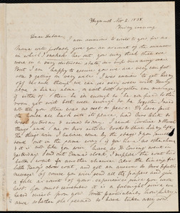 Letter from Anne Warren Weston, Weymouth, [Mass.], to Deborah Weston, Nov. 2, 1838, Friday evening