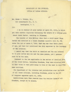 Letter from the Department of the Interior to James C. Waters Jr.