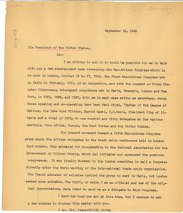 Letter from W. E. B. Du Bois to President Harry Truman