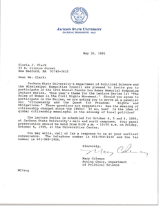 Letter from Mary Coleman to Gloria Xifaras Clark