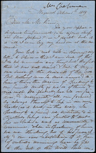 Letter from Maria Weston Chapman, Weymouth, [Mass.], to James Miller M'Kim, October 1st, 1859