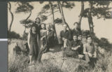 E. W. McMillan and R. C. Canonn with Students Outdoors, Ibaraki, Japan, ca.1948-1952