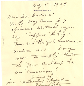 Letter from Edna Porter to W. E. B. Du Bois