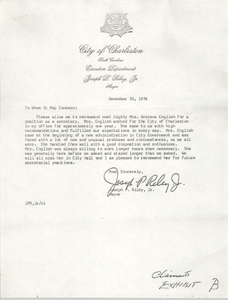 Letter of Recommendation for Arcrena English, December 30, 1976