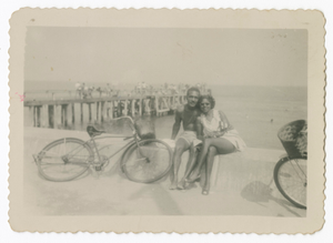 Digital image of a man and a woman seaside with bicycles on Martha's Vineyard