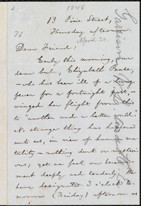 Letter from William Lloyd Garrison, 13 Pine Street, [Boston, Mass.], to Theodore Parker, Thursday afternoon, [April 20, 1848]