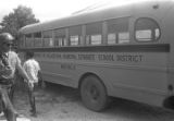 """School bus in Philadelphia, Mississippi, during the """"March Against Fear"""" begun by James Meredith."""