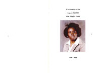 A celebration of life, August 19, 2006, Mrs. Dorothy Lewis